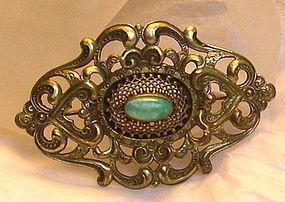 Antique Mottled Green Jade Peking Art Glass Cab Brass Sash Pin