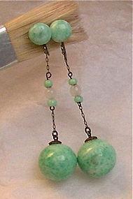 Vintage Art Deco Sterling Peking Jade Green Glass Dangle Earrings