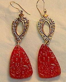 Grapefruit Red Poured Art Glass Earrings