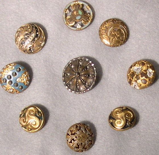27 Victorian Metal Buttons Brass Steel Painted Pearl +