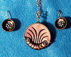 Victorian Tinted Shell Metal Button Necklace Earring