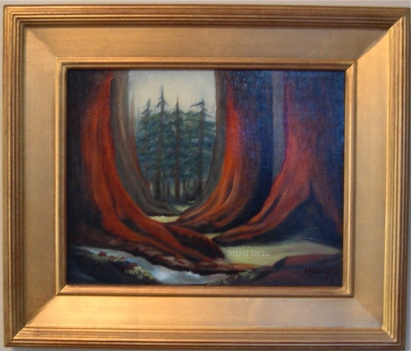 Signed Oil O/C Painting Landscape Redwoods Trees