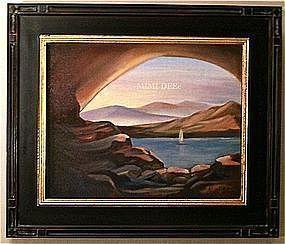 Signed Oil on Linen Painting Sailboat Serene Lake