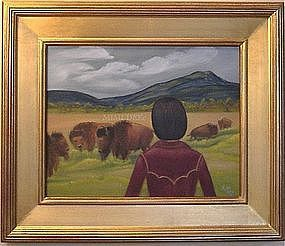 Signed Mimi Dee American Oil O/C Painting Landscape Bison Buffalo