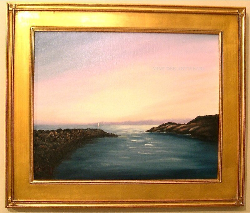Signed Oil Linen American Seascape Sailboat Marine Painting