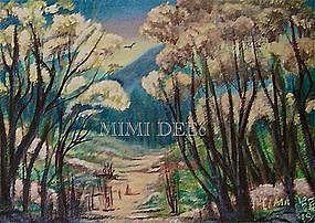 Signed American Original Oil Landscape Painting - Woodland Path I