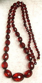 Vintage Faceted Graduated Red to Cognac Amber Necklace Barrel 55 Grams