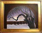 Signed Mimi Dee American Oil Landscape Tree Painting Omega Winter