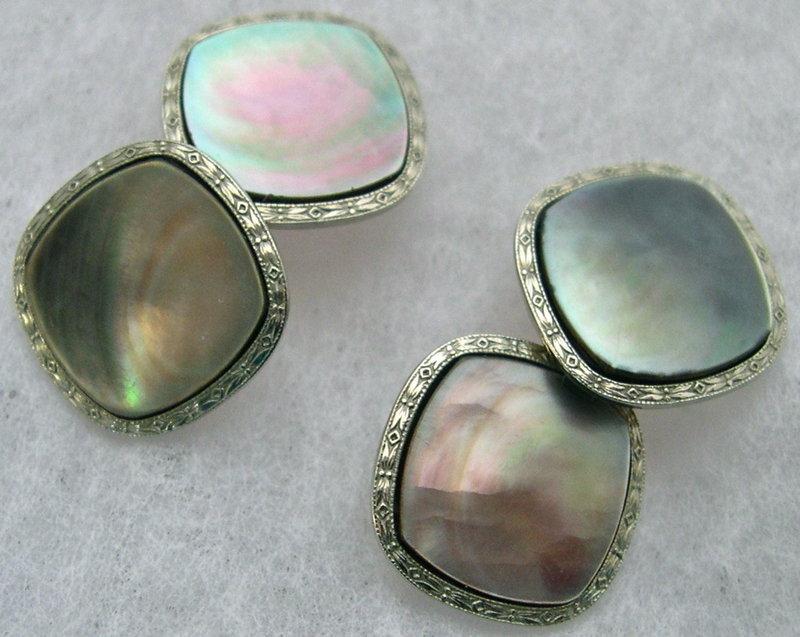 Antique 14K W/Y Gold Larter Abalone Double Side Cufflinks