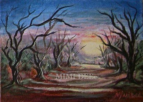 "Signed Original Acrylic Landscape Painting ""Grove"" Trees Luminous"