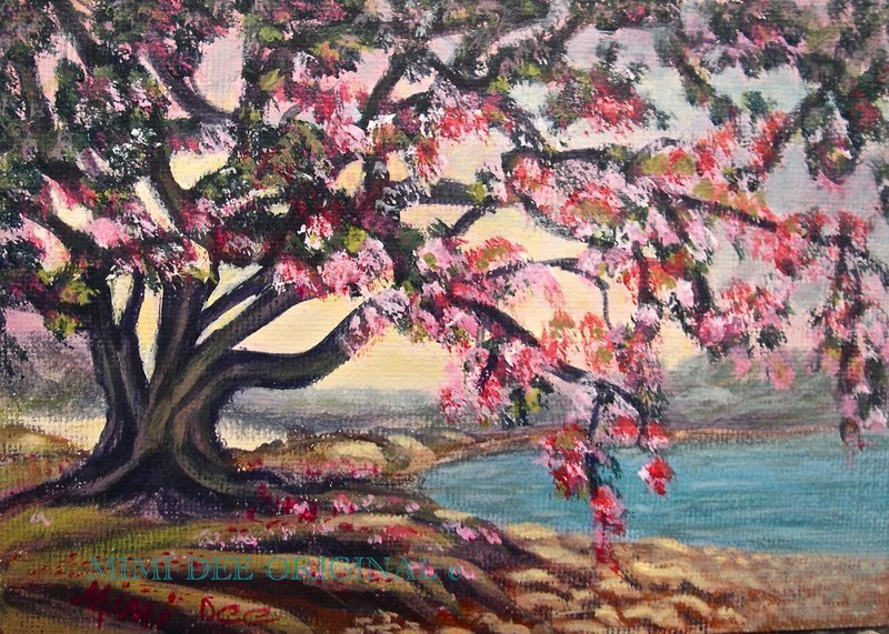 Signed American Original Acrylic Landscape Painting Blooms at the Lake