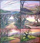 Three Left Ea Signed American Small Study Landscape Paintings Path