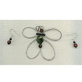 Signed Sterling Silver Butterfly Pendant Green Garnet