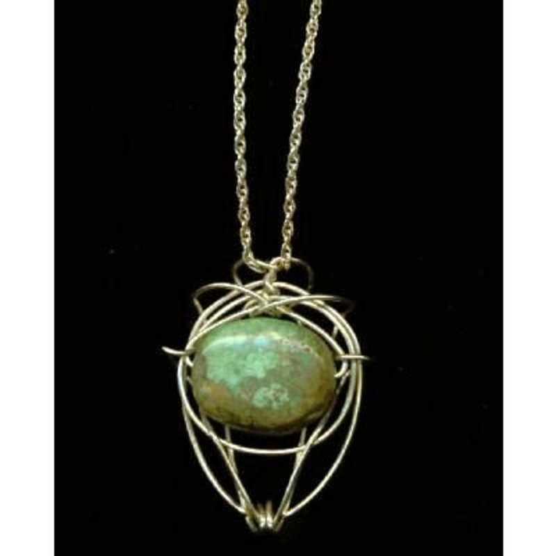 Sterling Silver Necklace Turquoise Pendant & Chain