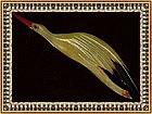 Vintage French Deco Pin Brooch Crane Stork Horn Depose