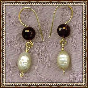 Singed Mimi Dee 14K Gold Earrings Amethyst Ivory Pearls Drop
