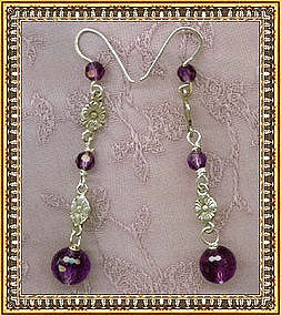 Hand Made Earrings Sterling Faceted Amethyst Gems