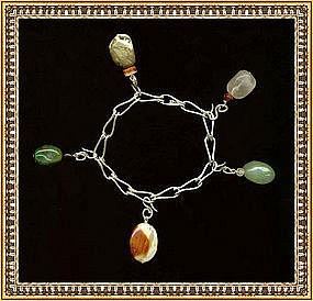 Artist Signed Sterling Charm Bracelet Hand Made Chain