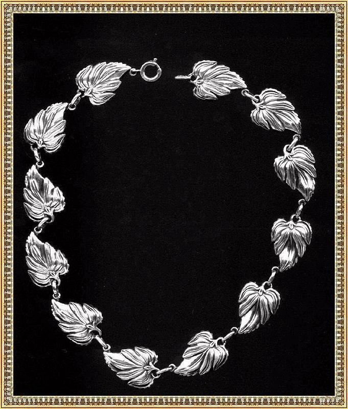 Leaf Flower Choker Necklace 15 .925 Danecraft Sterling Silver
