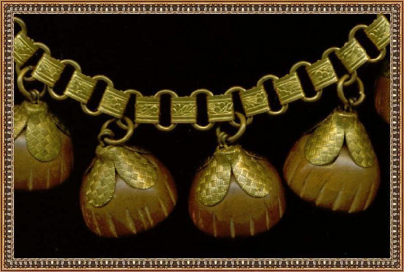 Vintage Book Chain Festoon Bib Necklace Carved Wood Art