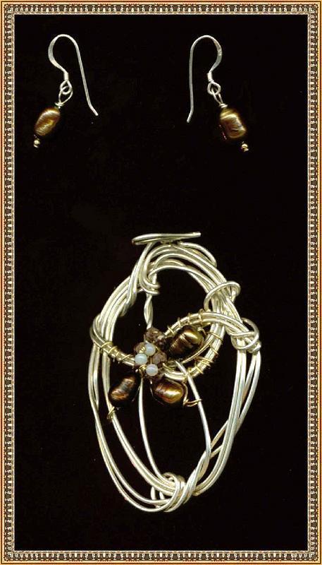 Signed Sterling Set Pendant Earrings Brown Pearl Opal