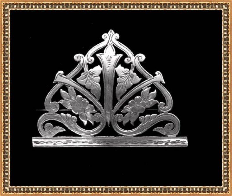 Vintage Signed English WA Antique Art Nouveau Victorian Silver Pin