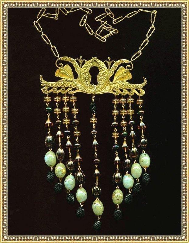 Brass Bib Art Glass Escutcheon Butterfly Necklace