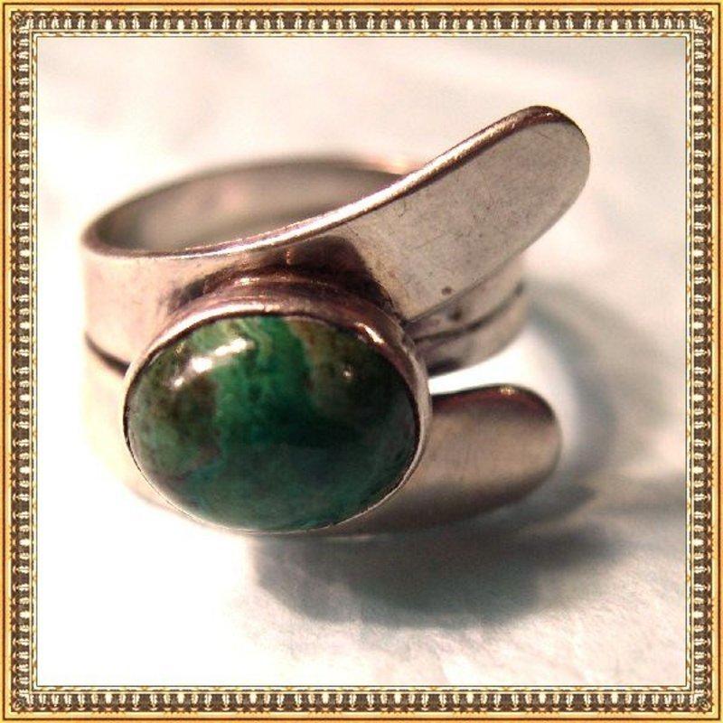 Vintage Signed Modernist Sterling Silver Ring Green Cab