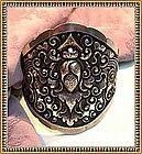 Vintage Heavy Silver Cuff Bracelet Bold Ornate SRS 800