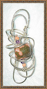 Artist Signed Sterling Abstract Pendant Jasper Coral
