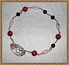 Artist Signed Sterling Choker Coral Onyx Moonstone