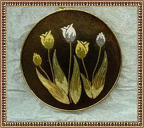 Amita Necklace Pendant Tulip Tri Color Mixed Damascene