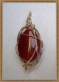 Signed Large Carnelian Pendant Enhancer