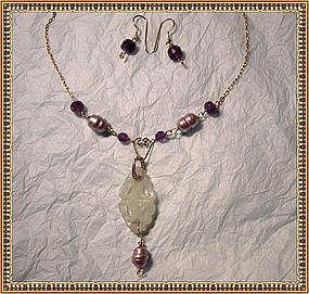 Signed Necklace Lavalier Light Pearls Amethyst Set
