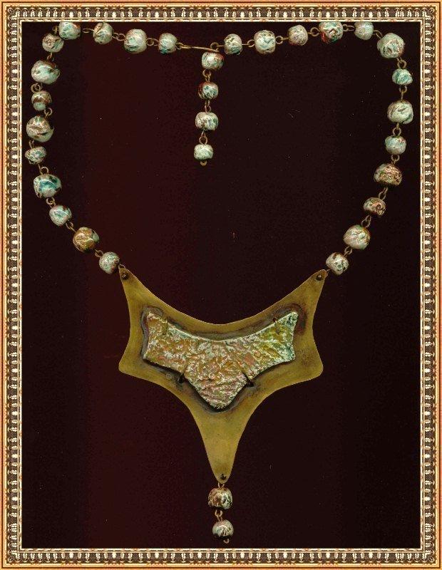 Vintage Arts Modernist Necklace Metal Pectoral Bib Ceramic Beads