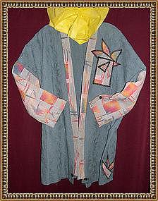 MIMI DEE 3/4 Length Slate Blue Art to Wear Jacket Coat