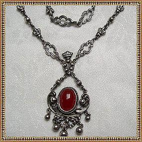 Vintage Peruzzi Necklace Sterling Silver Carnelian