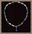 Vintage Silver Necklace Lapis Glass Barrel Clasp