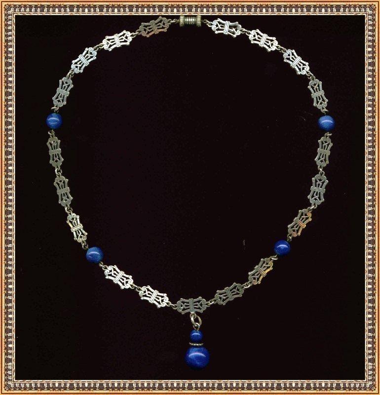 Vintage Silver Necklace Lapis Glass Barrel Clasp
