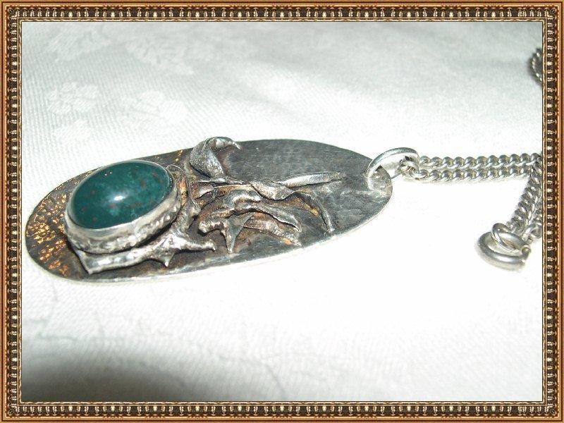 Vintage Unmarked Modernist Sterling Bloodstone Necklace Pendant