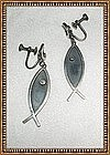Vintage Mexican Sterling Silver Fish Earrings Hecho en