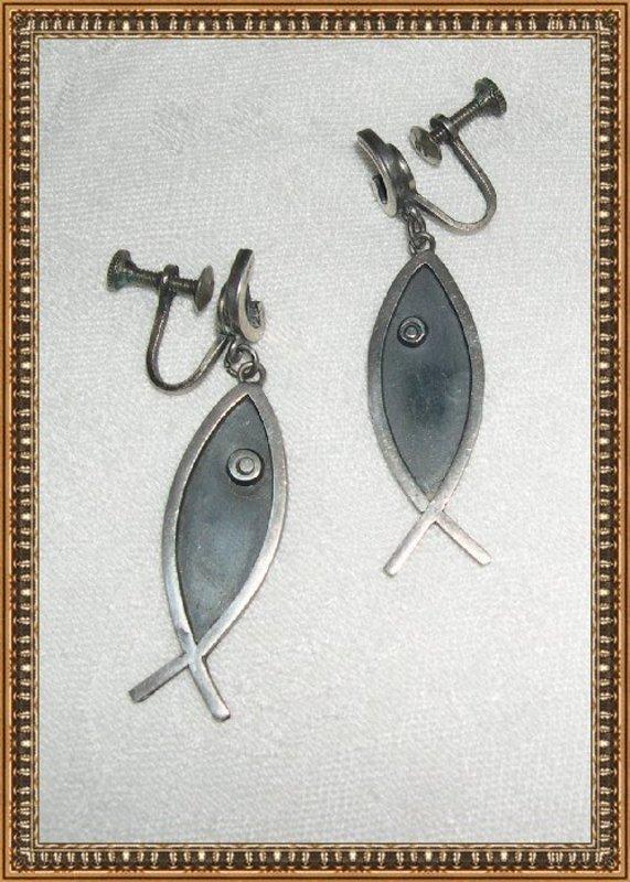 Vintage Mexican Sterling Silver Fish Earrings Hecho en