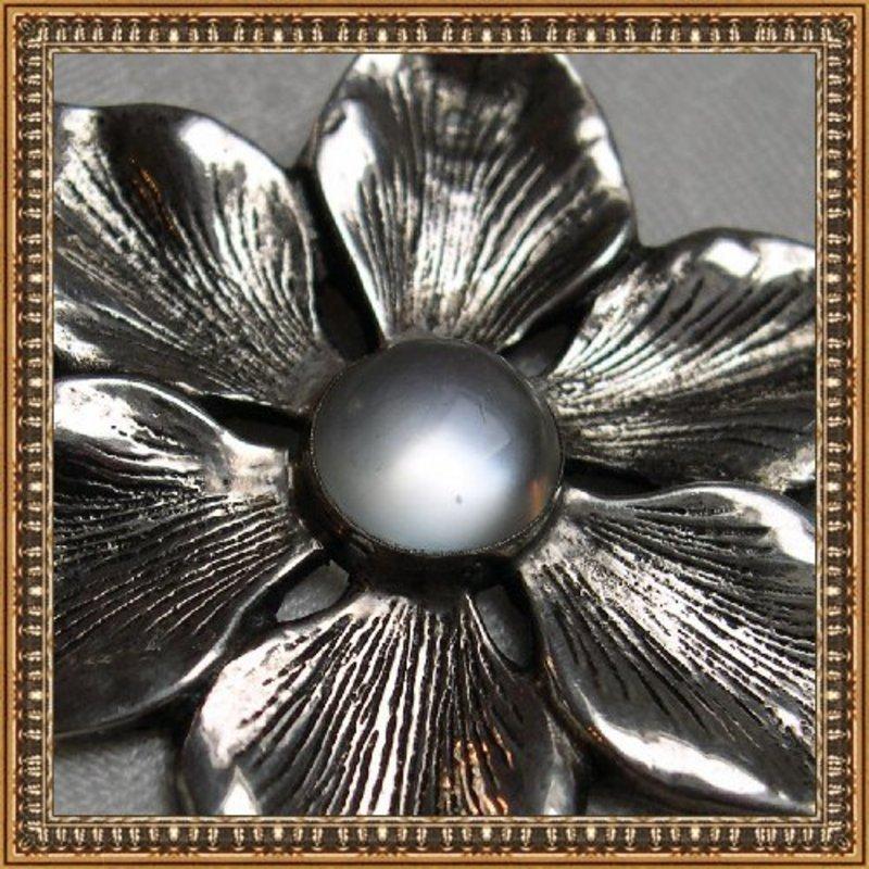 Vintage Signed PARENTI STERLING Pin Brooch Moonstone
