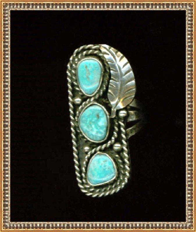 Vintage Native American Turquoise Sterling Ring Teepee Reward Mark