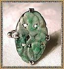 Vintage Unmarked Silver Arts Crafts Art Deco Carved Jade Ring