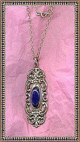 Vintage Towle Sterling Pendant Chain Lapis Lapiz Stone