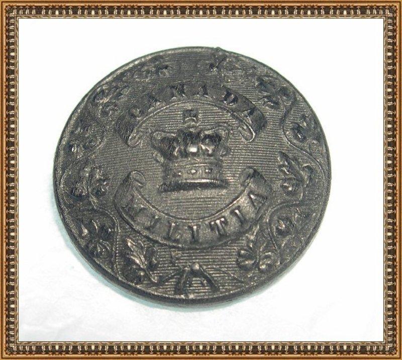 Antique Victorian Black  Bog Oak Button Canada Militia