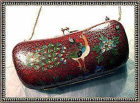 Vintage Enamel Purse Eyeglass Case Chain Peacock