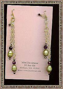 Double Chain Earrings Kiwi Pearl Amethyst Swarovski