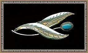 "Vintage Unmarked Signed Sterling Pin Brooch Turquoise ""TVE"""